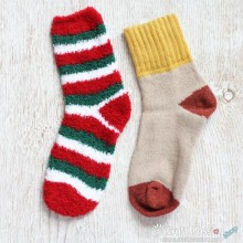 Chenille Microfiber Socks Set - Red Green White Stripes
