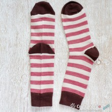 Stripes Cotton Socks, Burgundy Beige Brown Stripes