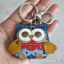 Olivia Owl  Leather Charm with Keyring and Hook - Small