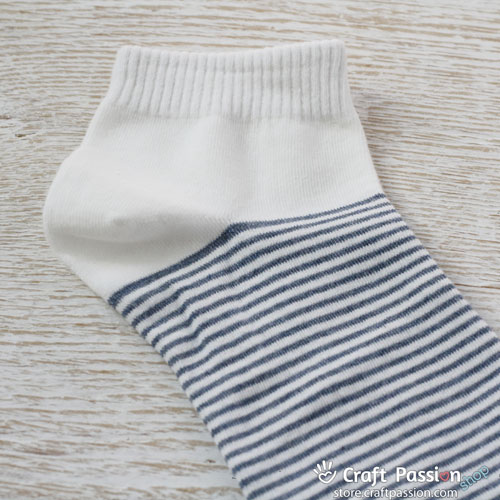 Stripes Ankle Socks - Denim White