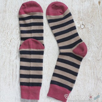 Stripes Cotton Socks, Khaki Dark Blue Melon Red Stripes