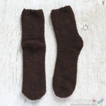 Chenille Microfiber Socks - Brown