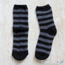 Chenille Microfiber Socks - Stripes - Black/Gray