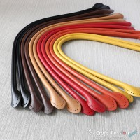 """Rolled Leather Purse Handles, Round End, 23"""" / 58cm, 1 pair"""