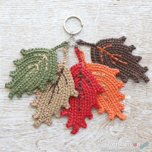 5 Fall-Leaf Charm with Keyring (Made-To-Order)